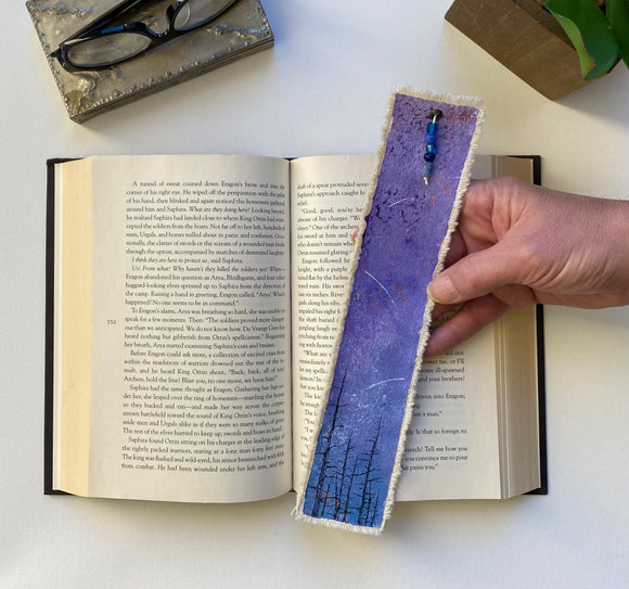 Starry Night Purple And Blue Canvas Bookmark Art.  Handmade, Unique, Beaded Tassel, One-Of-A-Kind And A Perfect Gift For Bookworms
