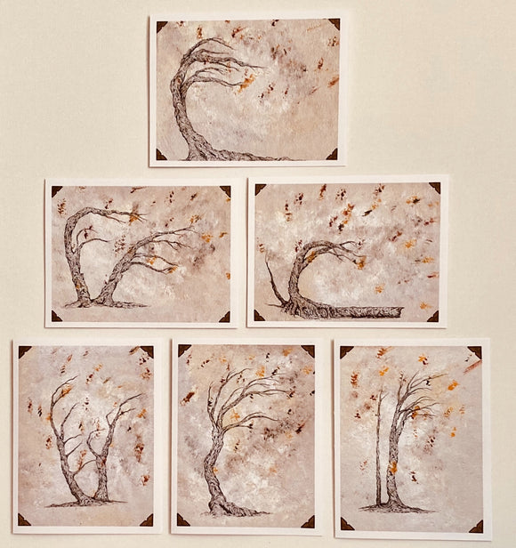 Collection Of 6 Tree Themed Notecards. Small Notecards Blank Notecards, Handmade Notecards.