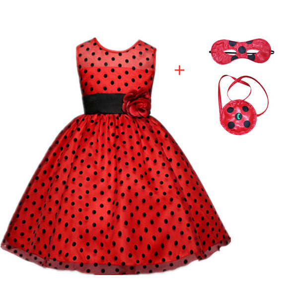 Carnival 2019New Red bug cosplay Girls Dress Summer Clothes Dot bug Party Dress Children's day Lace Dot Baby Girls Dresses