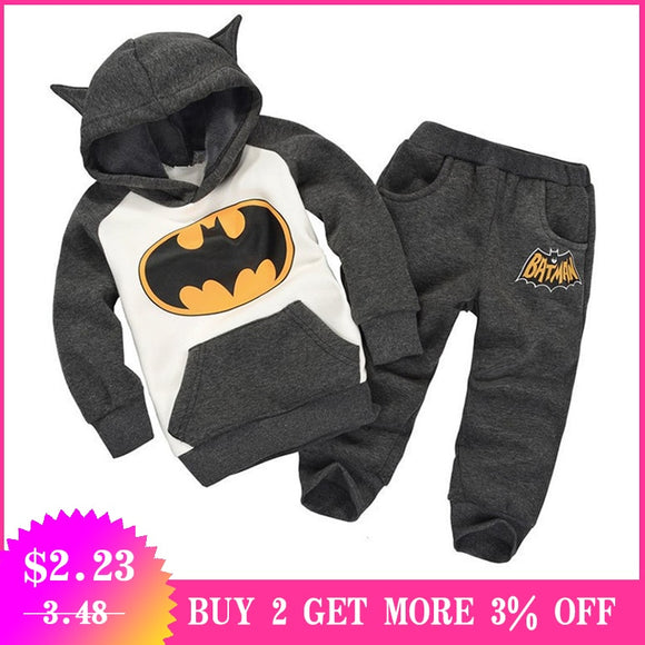 2019 Autumn Winter Toddler Boys Hooded Set Children Clothing Baby Boy Halloween Costume Batman Kids Sports Suit For Boys Clothes