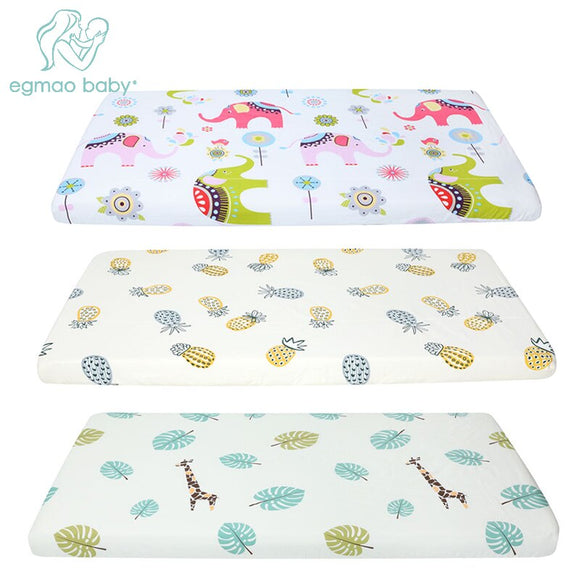 100% Cotton Lovely Pattern Newborn Baby Bed Crib Sheet Mattress Cover Protector for Baby Woven Paddy Fitted Sheets(130*70 CM)