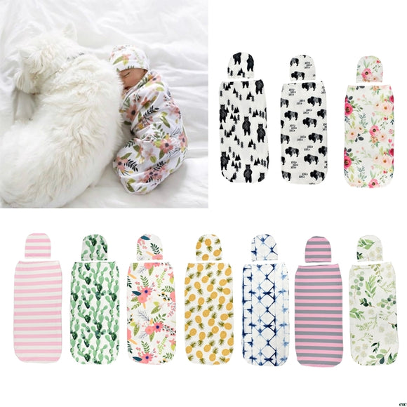 Baby Swaddle Blanket +Cap Newborn Cocoon Wrap Cotton Swaddling Bag Sack Bedding