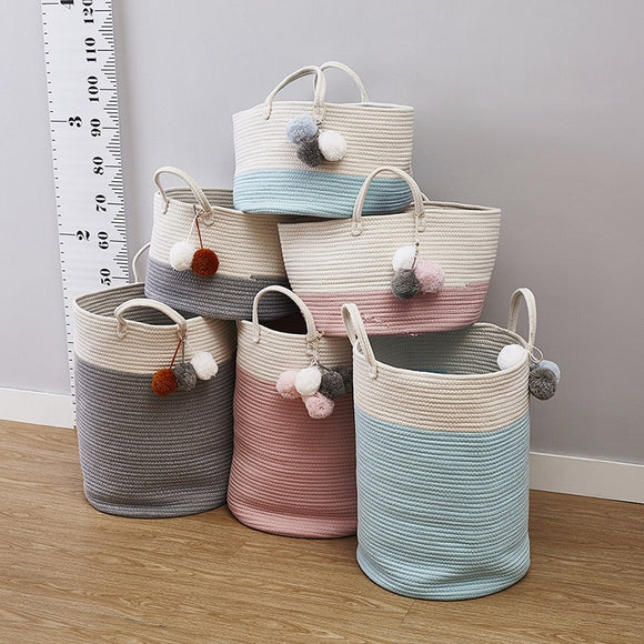 Cotton Laundry Nursery Hamper Rope Storage Basket with Handles Toys Bags Baskets for Kids Baby Toys  Home Decoration Accessories