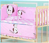 5pcs Pure Cotton Baby Bed Bumper Kit Soft Removable Washable Newborn Baby Bedding Crib Cot Bumper Baby Room Decor Cute Thickened