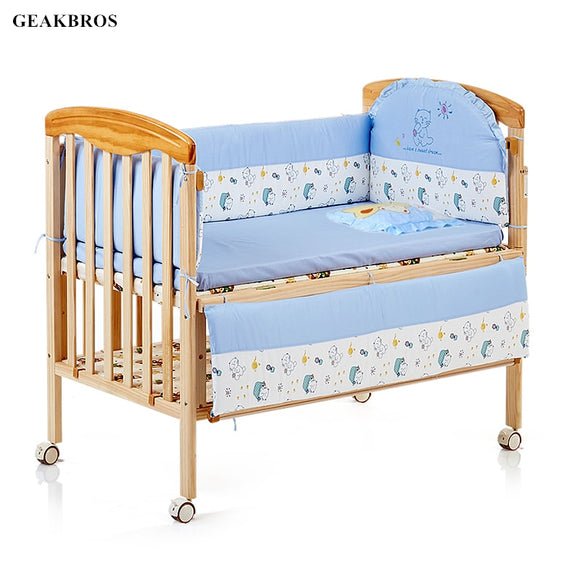 5Pcs/set Cotton Crib Bed Bumper Baby Cot Bedding Set Newborn Safty Detachable Cot Bed Linen Cartoon Junior Bed Sleep Bumper