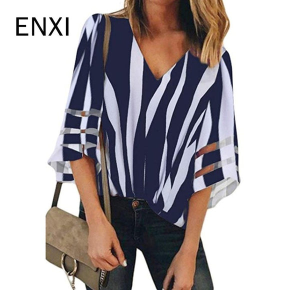 ENXI 8 Color Summer Pregnant Women's Clothes Maternity Chiffon Blouses Sexy Tops V Neck Casual Shirts Pregnancy Clothing