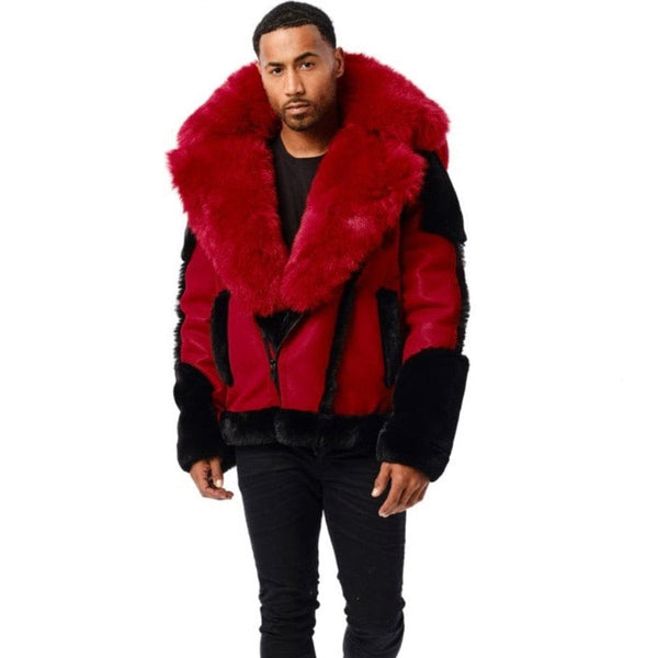Jordan Craig Anchorage Shearling Moto Jacket (Red) 91501
