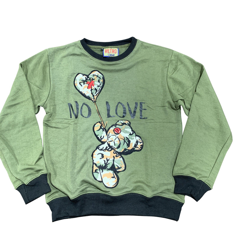 RETRO LABEL SWEATSHIRT NO LOVE OLIVE