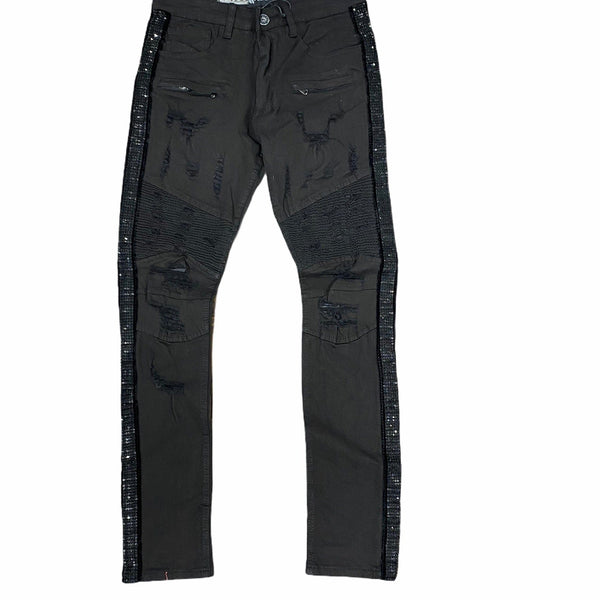 Waimea Rhinestone Side Tape Denim Jeans (Black/Black) M4935TA