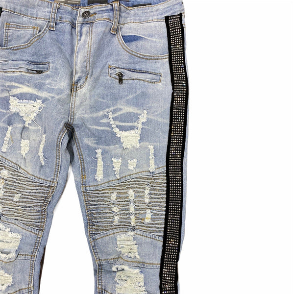 Waimea Side Tape W/ Clear Stones Denim Jeans (Stone Bleach) M4935DA