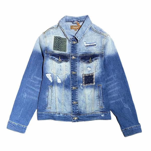 Crysp Bering Denim Jacket (Blue Patchwork) CRYSPSP121-203