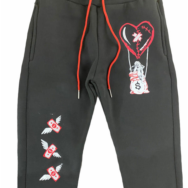 Retro Label 12s Hot Air Flu Game Joggers (Black/Red)