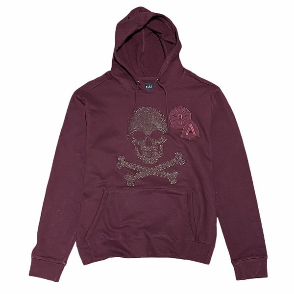 Mad Blue Patch Skull Hoodie (Burgundy)