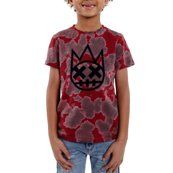 Kid's Cult Shimuchan Flocking T-Shirt (Burgundy) 88B8-KT05C