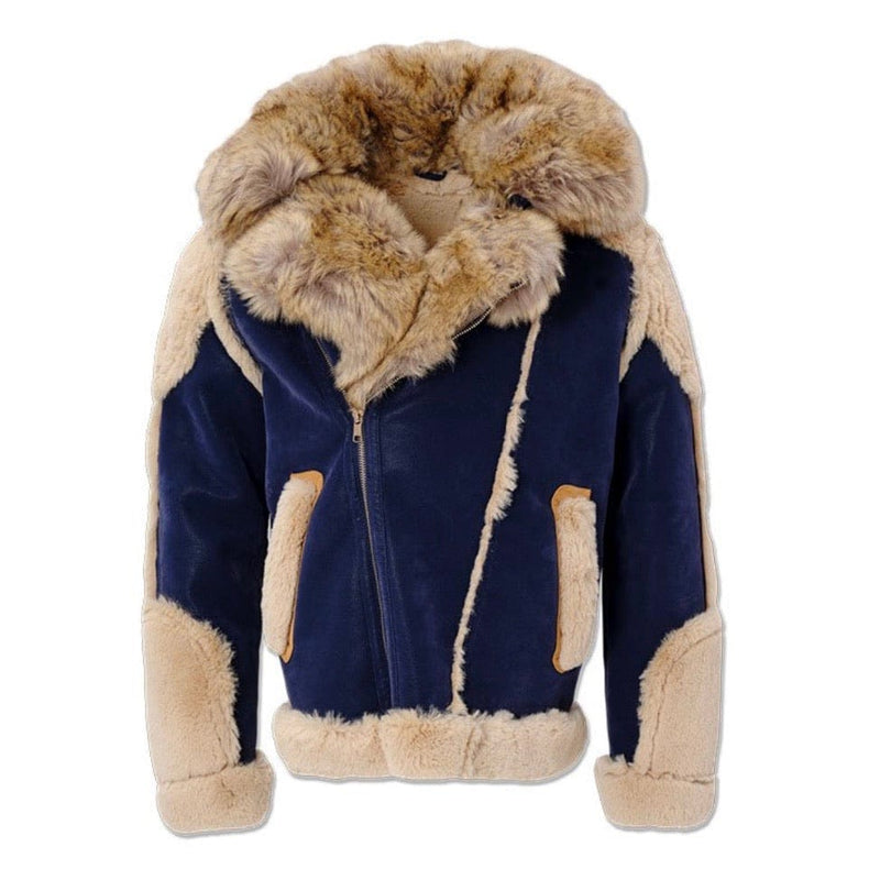 Jordan Craig Anchorage Shearling Moto Jacket (Admiral Blue) 91501