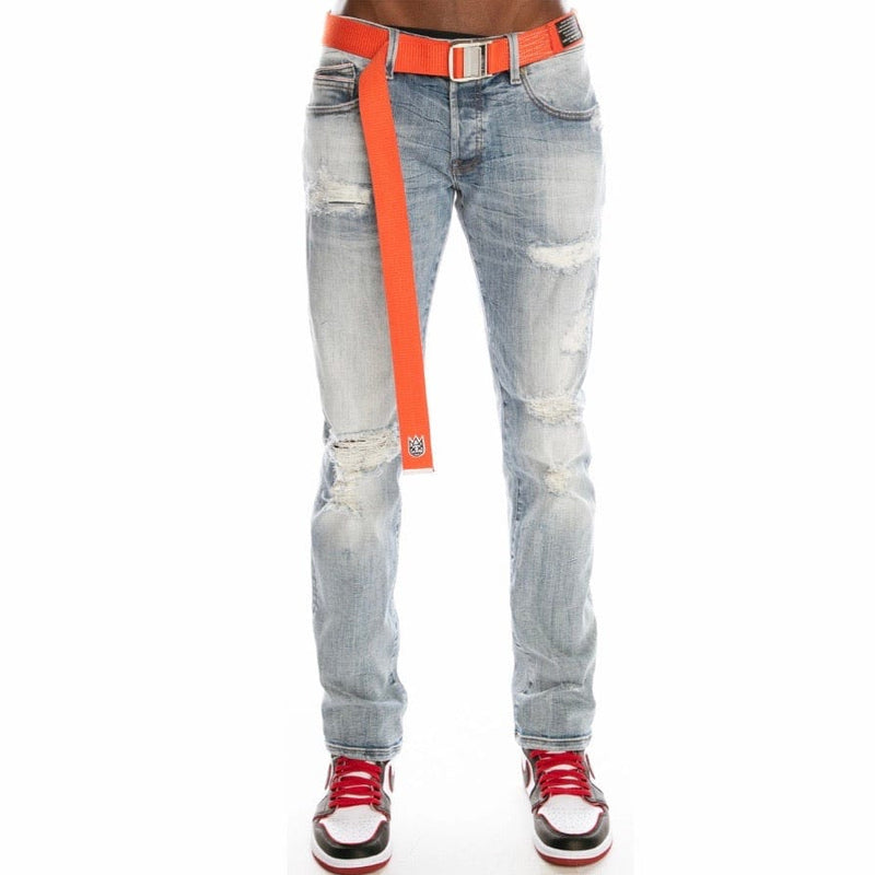 Cult Of Individuality Rocker Slim Straight Belted Jeans (Drifter) 620B9-RS03R