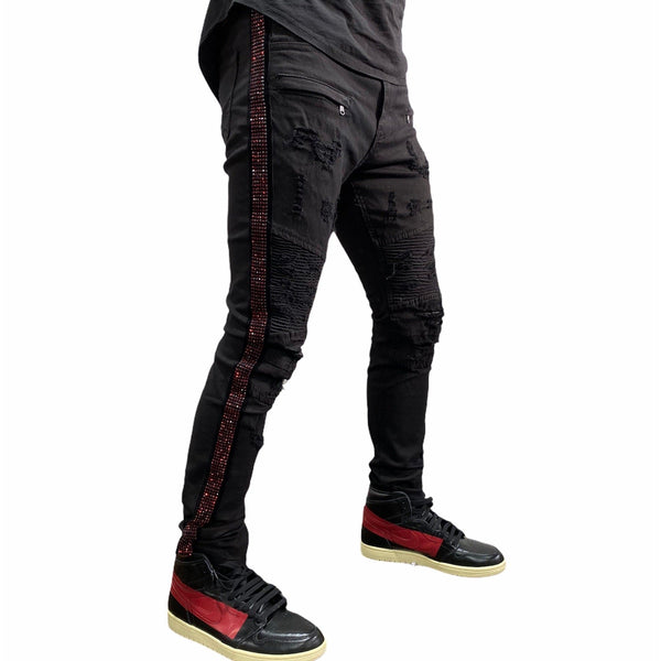 Waimea Rhinestone Side Tape Denim Jeans (Black/Red) M4935TA