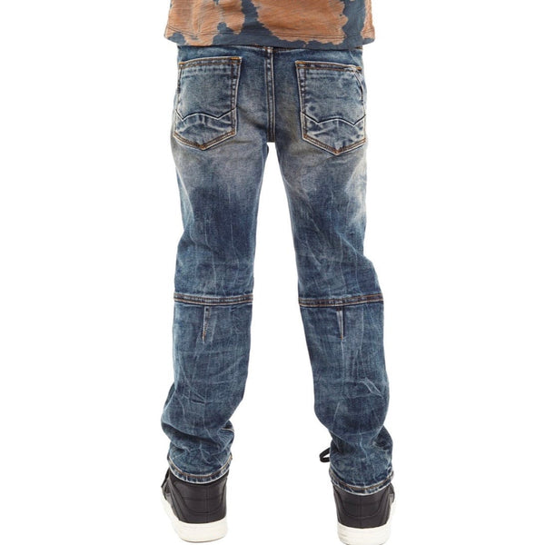 Kid's Cult Rogue Slim Straight Stretch Moto Denim Jeans (Sifu) 88B8-RS01C