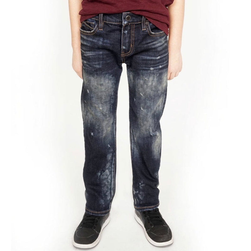 Kid's Cult Rogue Slim Straight Stretch Denim Jeans (Smog) 87B7-BRS0B