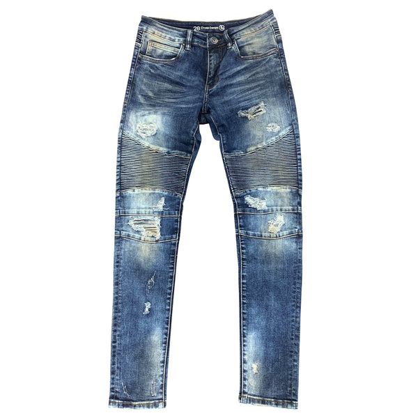 Crysp Skywalker Jean Indigo Distressed