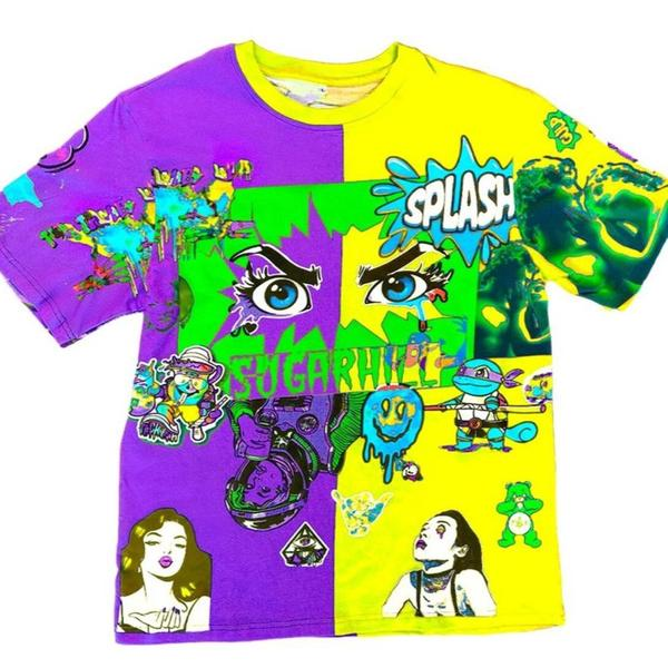 Sugar Hill Split Psycho Tee (Purple/Yellow)