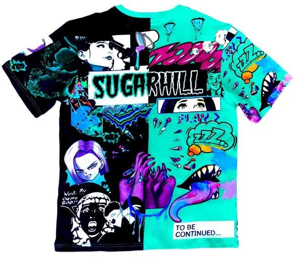 Sugar Hill Split Psycho Tee (Turquoise/Black)