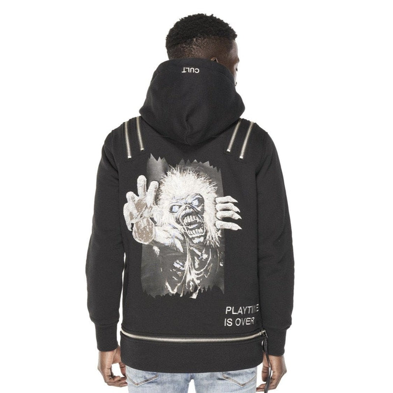 CULT OF INDIVIDUALITY ZIP PULL OVER HOODY  BLACK