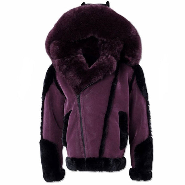 Jordan Craig Anchorage Shearling Moto Jacket (Wine) 91501
