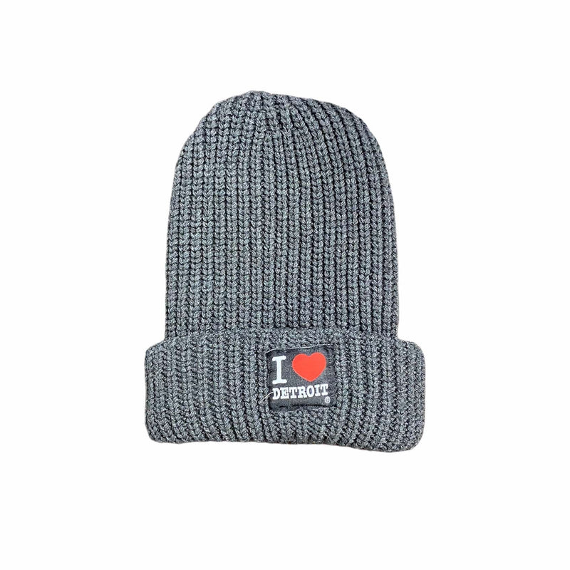 Ink Detroit I Heart Detroit Cable Knit Beanie (Charcoal)