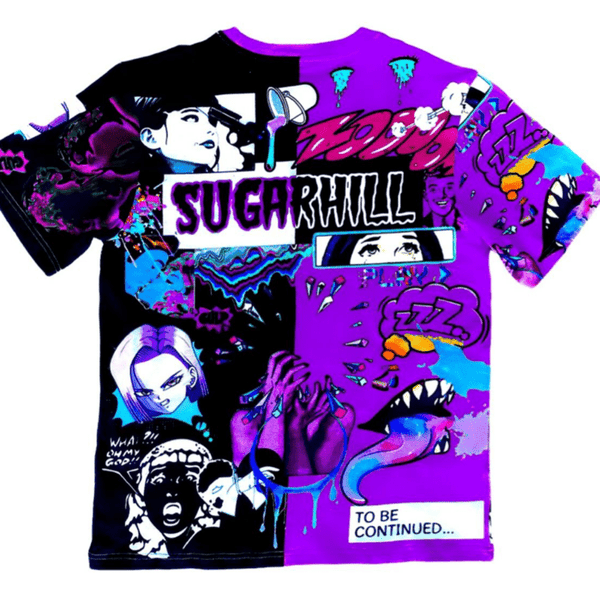 Sugar Hill Split Psycho Tee (Purple/Black)