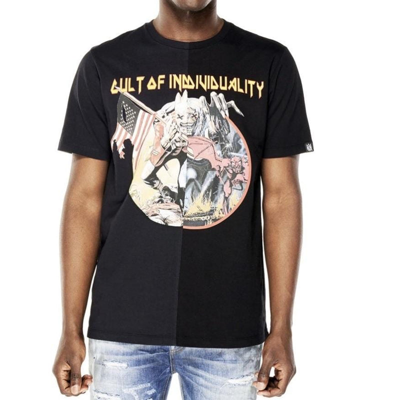 CULT OF INDIVIDUALITY T SHIRT SPLIT BLACK