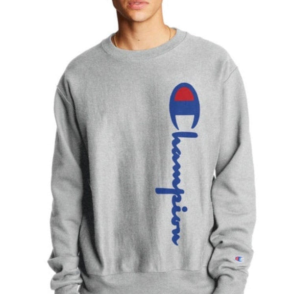 Champion Reverse Weave® Crew, 90's Flocked Logo Sweatshirt (Oxford Gray)