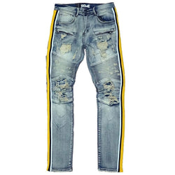 Preme Male Indigo Jean Yellow Striped