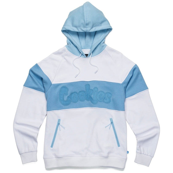 Cookies Hoody W/ Double Twill Applique & Rubber Logo Patch (White/Blue)