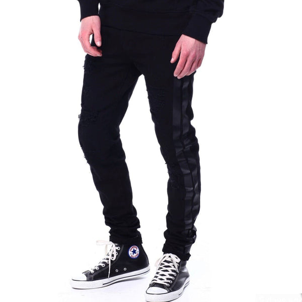 Preme Distressed Black Jean W Tonal Bold Stripe Detail