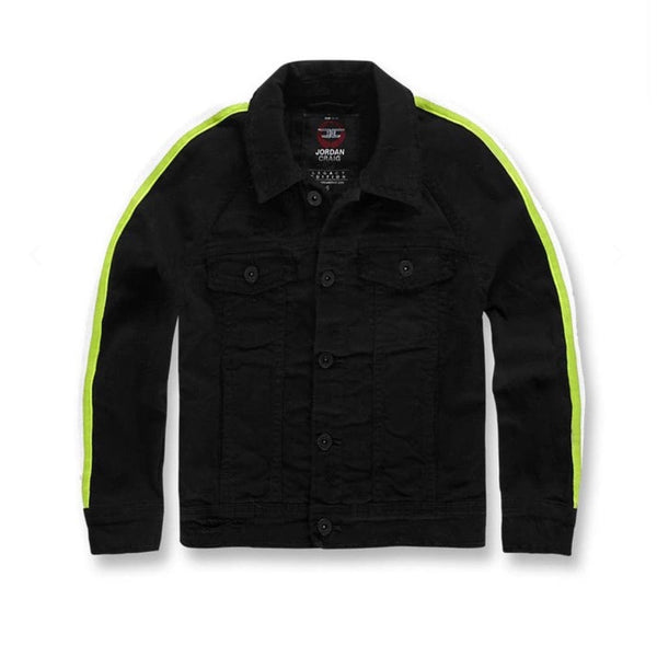 Kids Jordan Grand Prix Striped Denim Jacket (BlackVolt)
