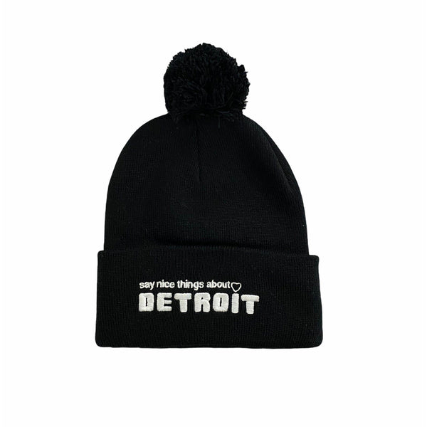 Ink Detroit Say Nice Things About Detroit Pom Pom Beanie (Black)