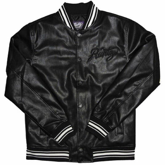 Runtz Scriptz Leather Varsity Jacket (Black) 37346-BK