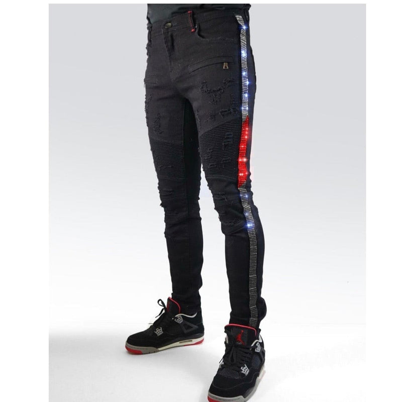 Preme Eldredge MultiColor Striped Rhinestoned Jean (Black)