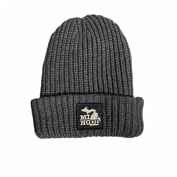 Ink Detroit Mi Hood Cable Knit Beanie (Grey)