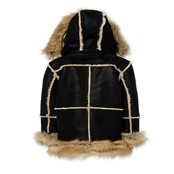 KIDS JORDAN CRAIG SHEARLING COAT BLACK COPPER