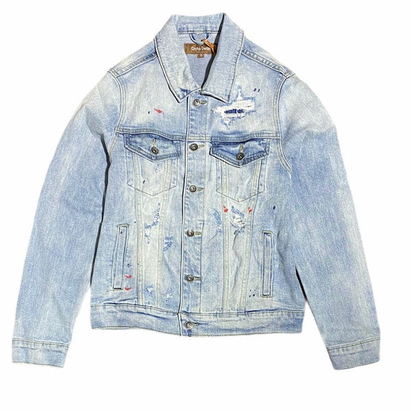 Crysp Bering Denim Jacket (Light Blue Patchwork) CRYSPSP121-201