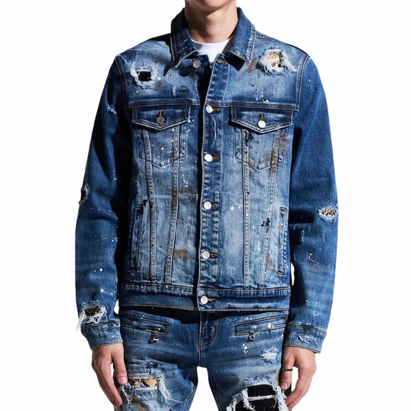 Embellish Crawley Denim Jacket (Indigo Patchwork) EMBSP121-205