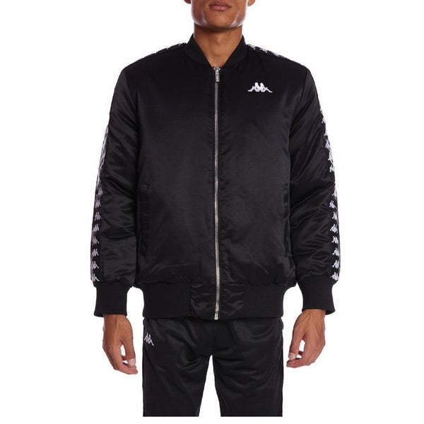 Kappa 222 Banda Bawer Bomber Jacket (Black/White)