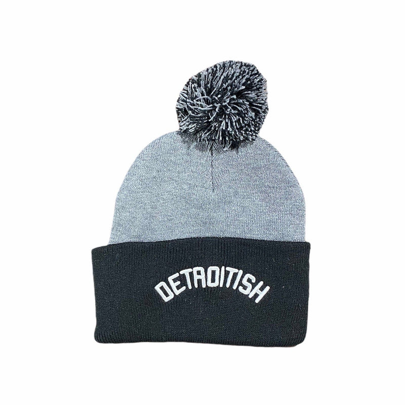 Ink Detroit Detroitish Pom Pom Beanie (Grey/Black)