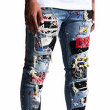 Embellish Rebel Rip & Repair Denim (Blue Patchwork)