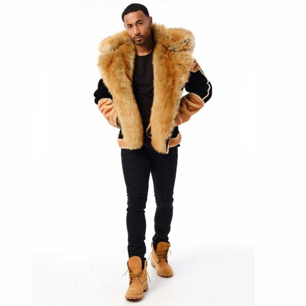 Jordan Craig EL Jefe Shearling Moto Jacket (Black Coffee) 91518