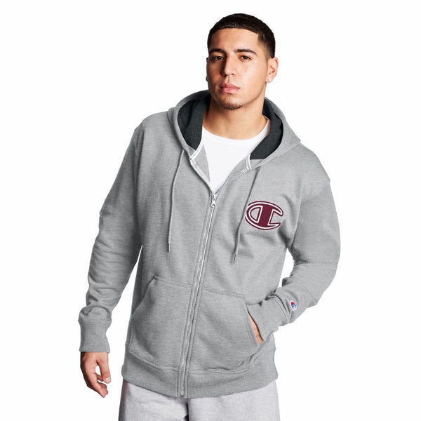 Champion Powerblend Fleece Zip Hoodie (Oxford Gray) GF91H