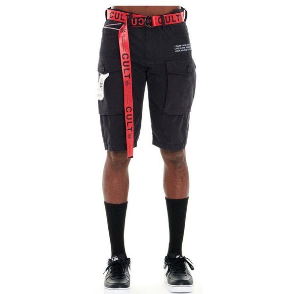 Cult Of Individuality Rocker Cargo Shorts Belted (Black)