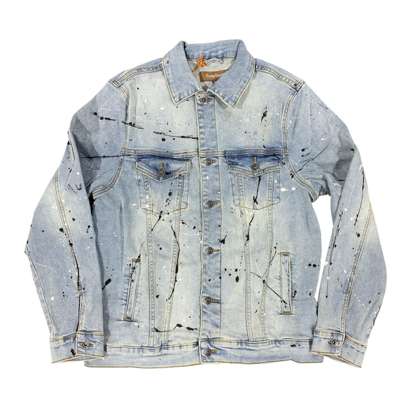 Crysp Bering Denim Jacket Light Vintage Paint Splatter